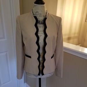 Tahari beige and black blazer